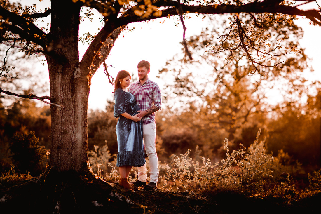 Hampshire maternity session in forest during the sunset (golden hour)